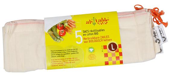 Sacs réutilisables en coton Bio pour l'achat de vos fruits & légumes (lot de 5)